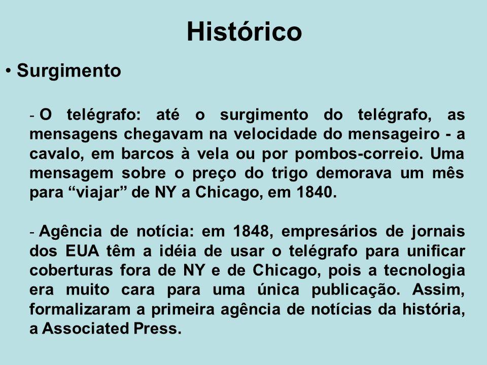 Histórico Surgimento - O telégrafo: até o surgimento do telégrafo, as mensagens chegavam na velocidade do mensageiro - a cavalo, em barcos à vela ou p
