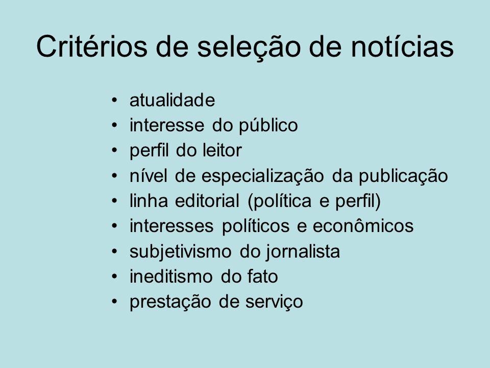 Critérios de seleção de notícias atualidade interesse do público perfil do leitor nível de especialização da publicação linha editorial (política e pe