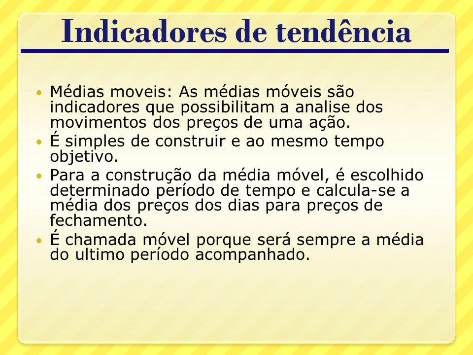 Indicadores de tendência Médias moveis: As médias móveis são indicadores que possibilitam a analise dos movimentos dos preços de uma ação.
