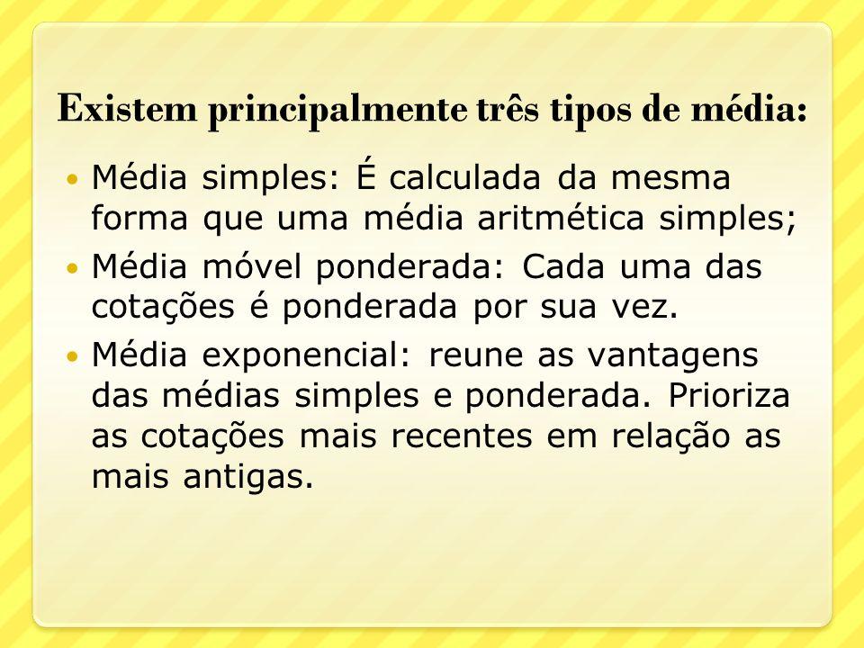 Existem principalmente três tipos de média: Média simples: É calculada da mesma forma que uma média aritmética simples; Média móvel ponderada: Cada uma das cotações é ponderada por sua vez.