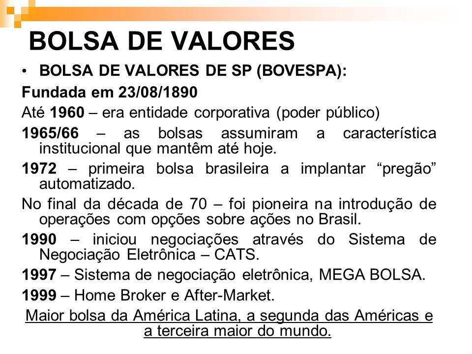 BOLSA DE VALORES BOLSA DE VALORES DE SP (BOVESPA): Fundada em 23/08/1890 Até 1960 – era entidade corporativa (poder público) 1965/66 – as bolsas assum