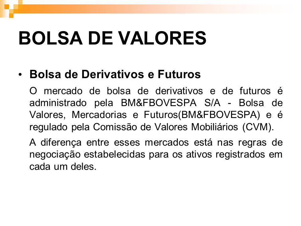 BOLSA DE VALORES Bolsa de Derivativos e Futuros O mercado de bolsa de derivativos e de futuros é administrado pela BM&FBOVESPA S/A - Bolsa de Valores,