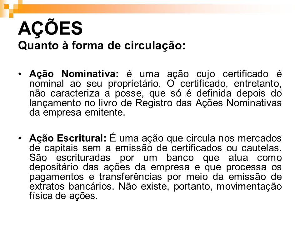 AÇÕES Quanto à forma de circulação: Ação Nominativa: é uma ação cujo certificado é nominal ao seu proprietário. O certificado, entretanto, não caracte
