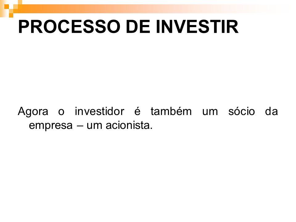 PROCESSO DE INVESTIR Agora o investidor é também um sócio da empresa – um acionista.
