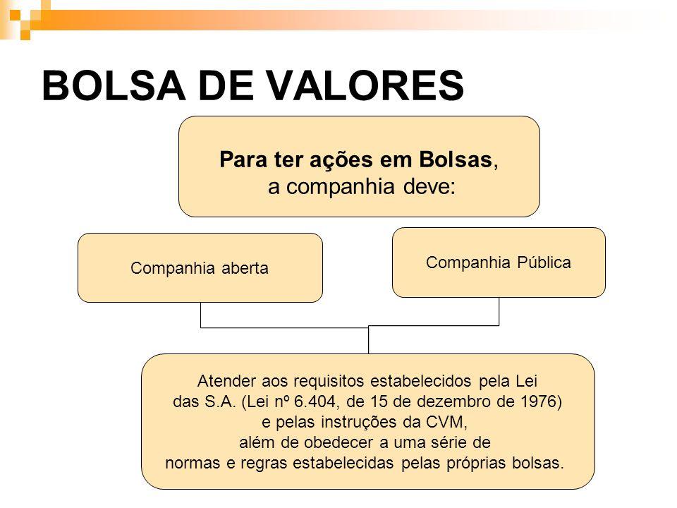BOLSA DE VALORES Atender aos requisitos estabelecidos pela Lei das S.A. (Lei nº 6.404, de 15 de dezembro de 1976) e pelas instruções da CVM, além de o