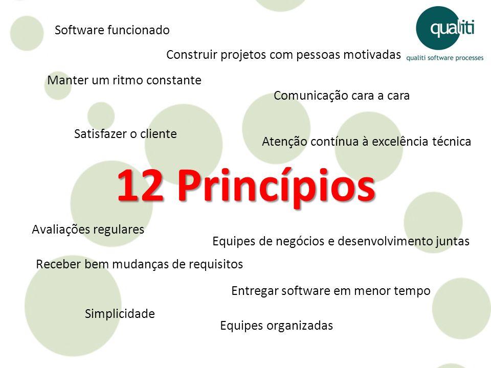 12 Princípios Satisfazer o cliente Receber bem mudanças de requisitos Entregar software em menor tempo Equipes de negócios e desenvolvimento juntas Co