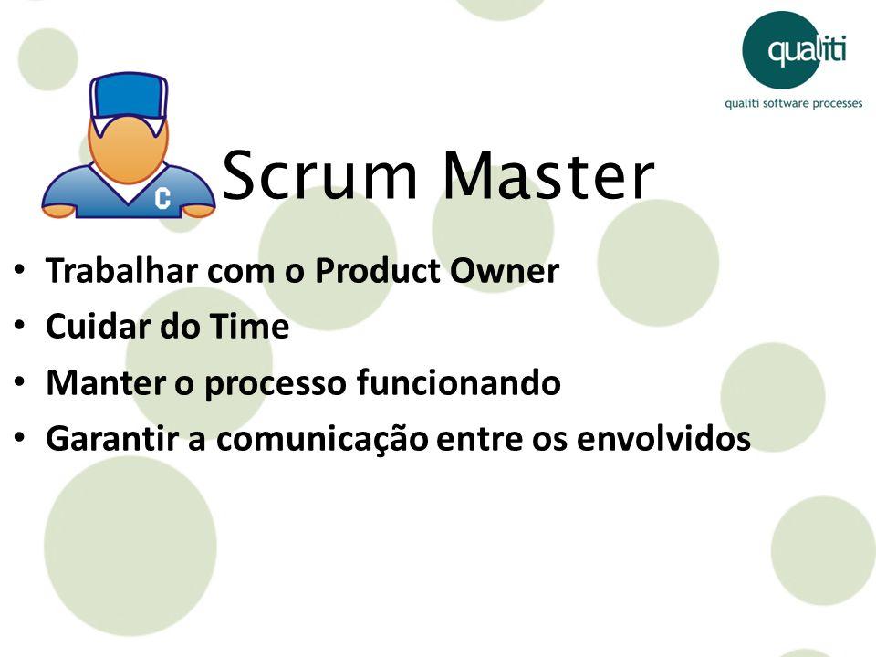 Trabalhar com o Product Owner Cuidar do Time Manter o processo funcionando Garantir a comunicação entre os envolvidos Scrum Master