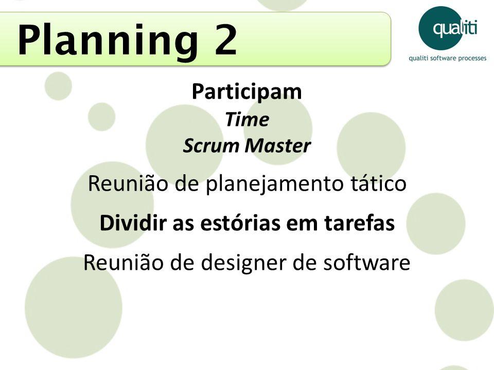 Planning 2 Participam Time Scrum Master Reunião de planejamento tático Dividir as estórias em tarefas Reunião de designer de software
