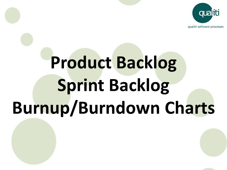 Product Backlog Sprint Backlog Burnup/Burndown Charts
