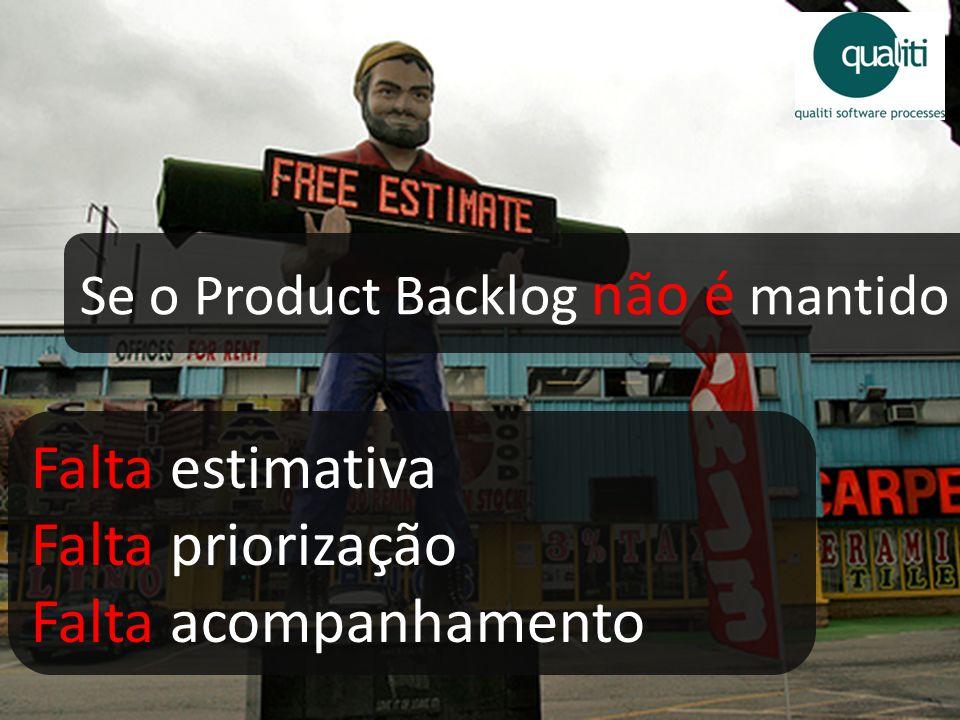 Se o Product Backlog não é mantido Falta estimativa Falta priorização Falta acompanhamento
