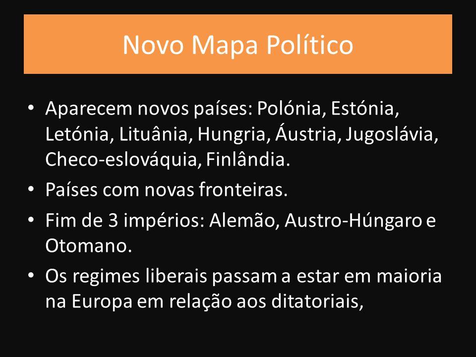 Aparecem novos países: Polónia, Estónia, Letónia, Lituânia, Hungria, Áustria, Jugoslávia, Checo-eslováquia, Finlândia.