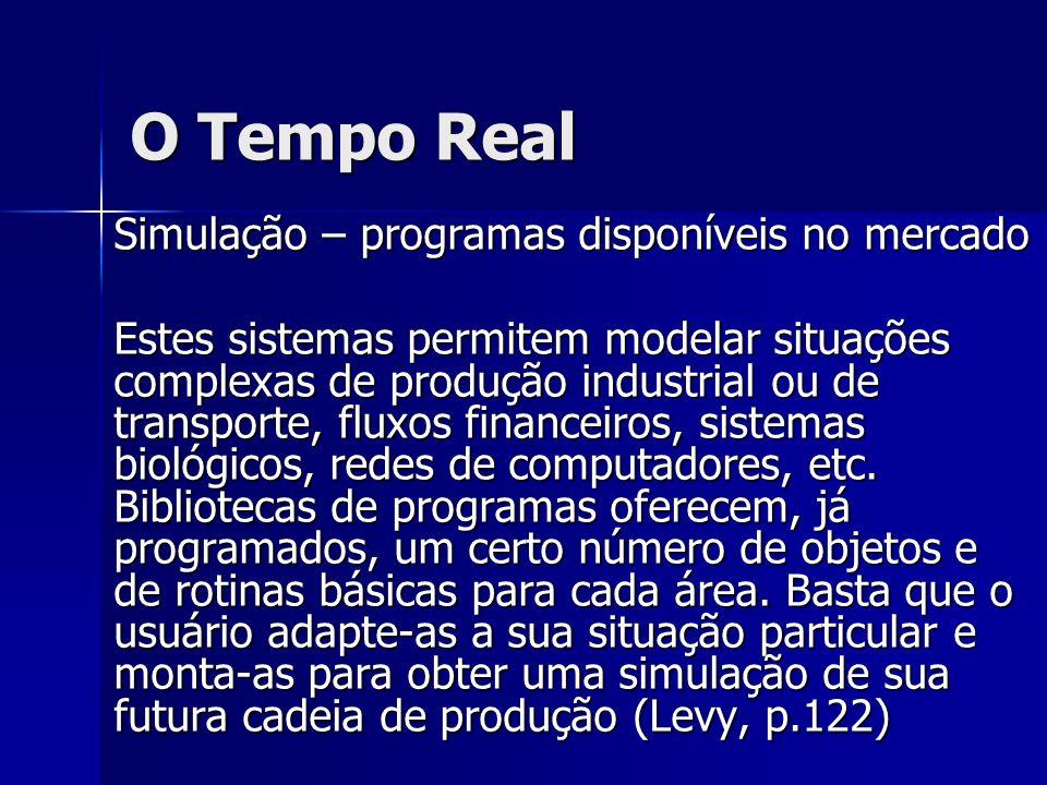 O Tempo Real Simulação – programas disponíveis no mercado Estes sistemas permitem modelar situações complexas de produção industrial ou de transporte,