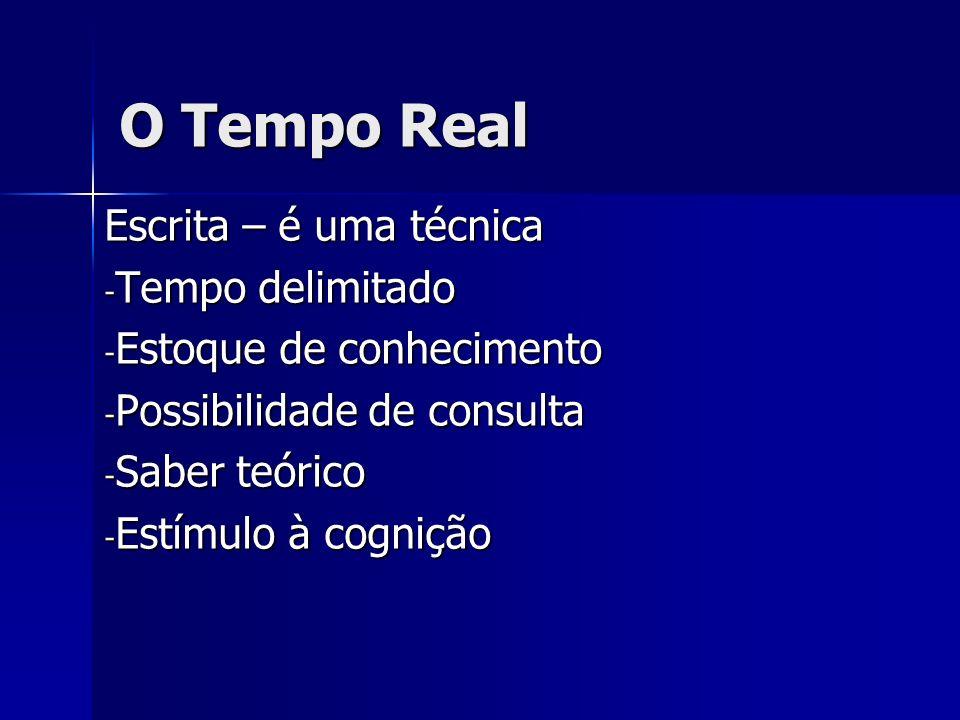 O Tempo Real Escrita – é uma técnica - Tempo delimitado - Estoque de conhecimento - Possibilidade de consulta - Saber teórico - Estímulo à cognição
