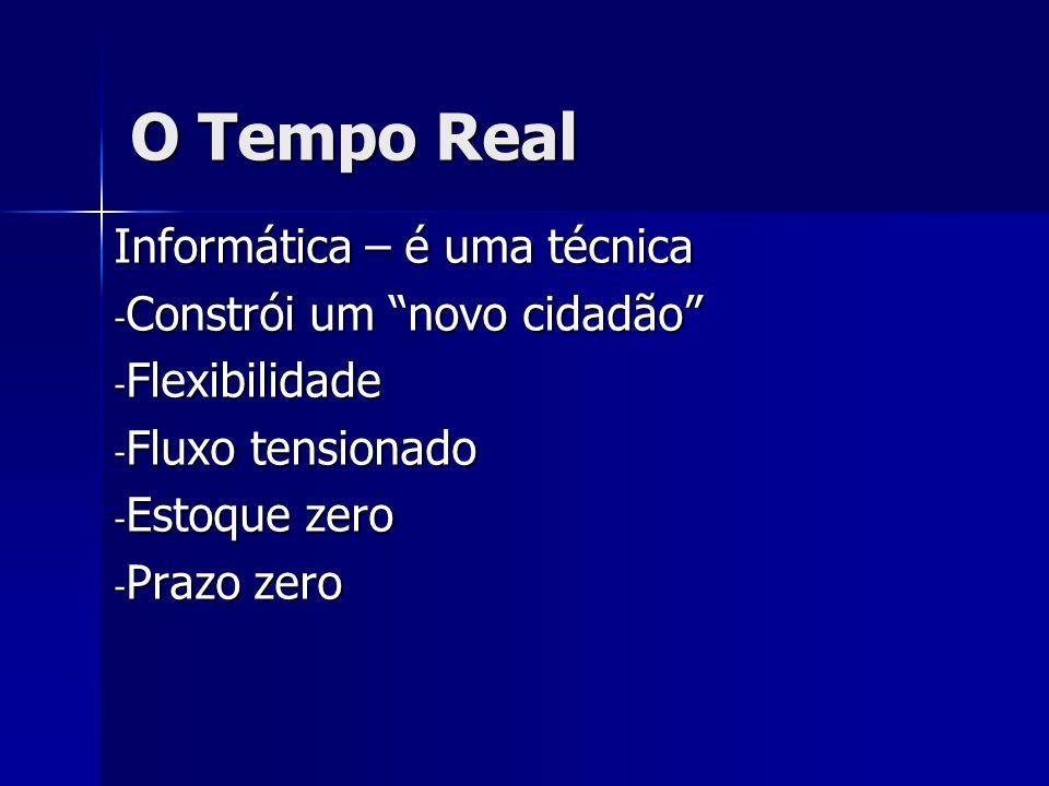O Tempo Real Informática – é uma técnica - Constrói um novo cidadão - Flexibilidade - Fluxo tensionado - Estoque zero - Prazo zero