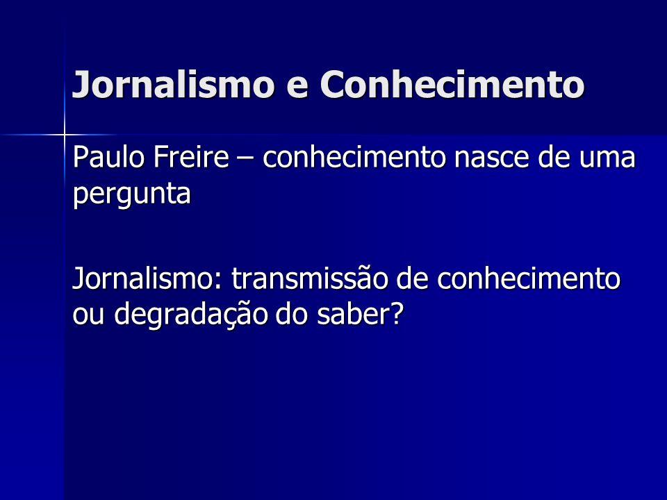 Jornalismo e Conhecimento Paulo Freire – conhecimento nasce de uma pergunta Jornalismo: transmissão de conhecimento ou degradação do saber?