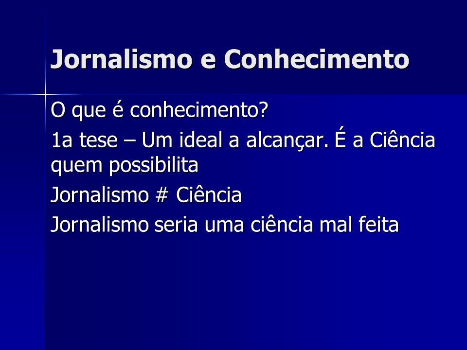 Características do Jornalismo como Conhecimento Senso comum opera com a vida cotidiana Jornalismo: como método analítico e demonstrativo; forte, como ferramenta para orientar o princípio de realidade do público Jornalismo: frágil como método analítico e demonstrativo; forte, como ferramenta para orientar o princípio de realidade do público Jornalismo – forma de conhecimento menos rigoroso que a Ciência formal