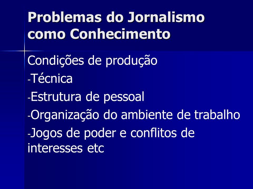 Problemas do Jornalismo como Conhecimento Condições de produção - - Técnica - - Estrutura de pessoal - - Organização do ambiente de trabalho - - Jogos