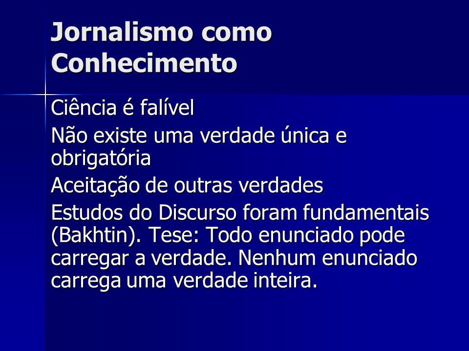 Jornalismo como Conhecimento Discurso identifica verdades diversas para objetivo e situação Antropologia e Sociologia provaram que a Ciência não é o único método de produzir conhecimento (não significa retorno ao irracionalismo da Idade Média)