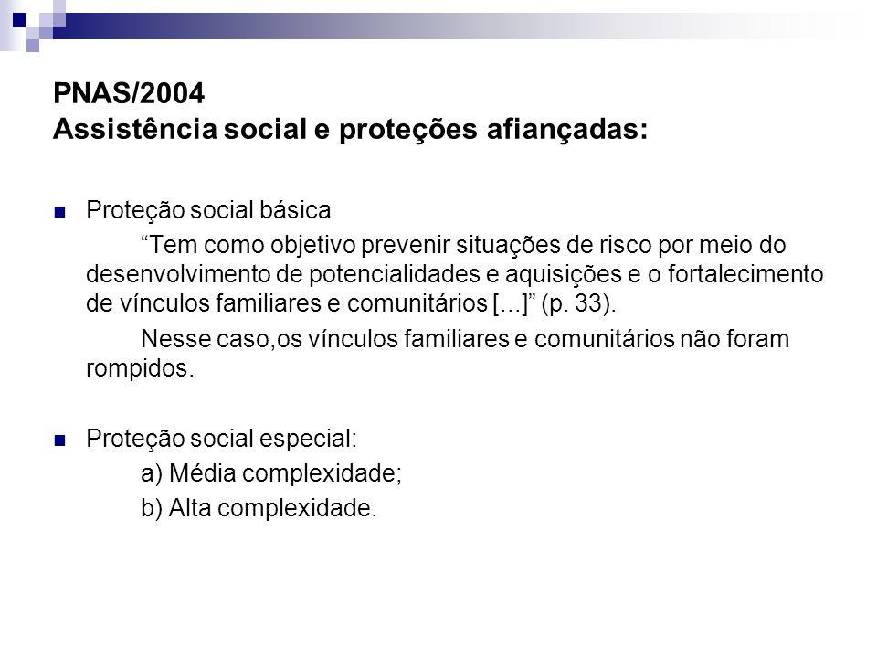 PNAS/2004 Assistência social e proteções afiançadas: Proteção social básica Tem como objetivo prevenir situações de risco por meio do desenvolvimento