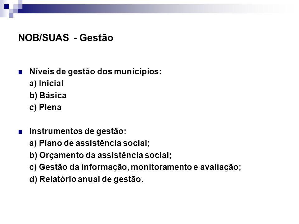 NOB/SUAS - Gestão Níveis de gestão dos municípios: a) Inicial b) Básica c) Plena Instrumentos de gestão: a) Plano de assistência social; b) Orçamento