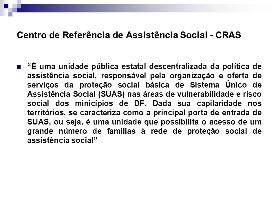 Centro de Referência de Assistência Social - CRAS É uma unidade pública estatal descentralizada da política de assistência social, responsável pela or