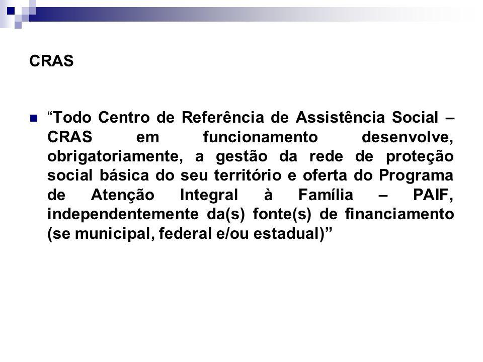 CRAS Todo Centro de Referência de Assistência Social – CRAS em funcionamento desenvolve, obrigatoriamente, a gestão da rede de proteção social básica