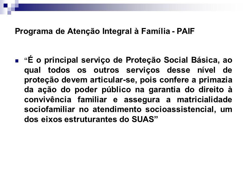 Programa de Atenção Integral à Família - PAIF É o principal serviço de Proteção Social Básica, ao qual todos os outros serviços desse nível de proteçã
