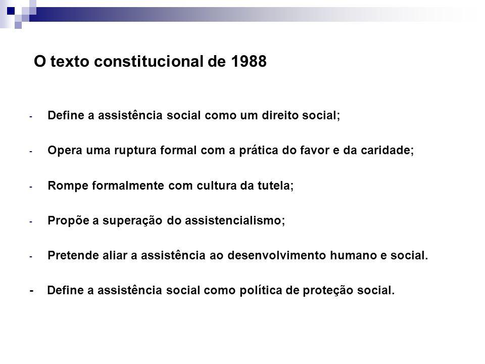 O texto constitucional de 1988 - Define a assistência social como um direito social; - Opera uma ruptura formal com a prática do favor e da caridade;