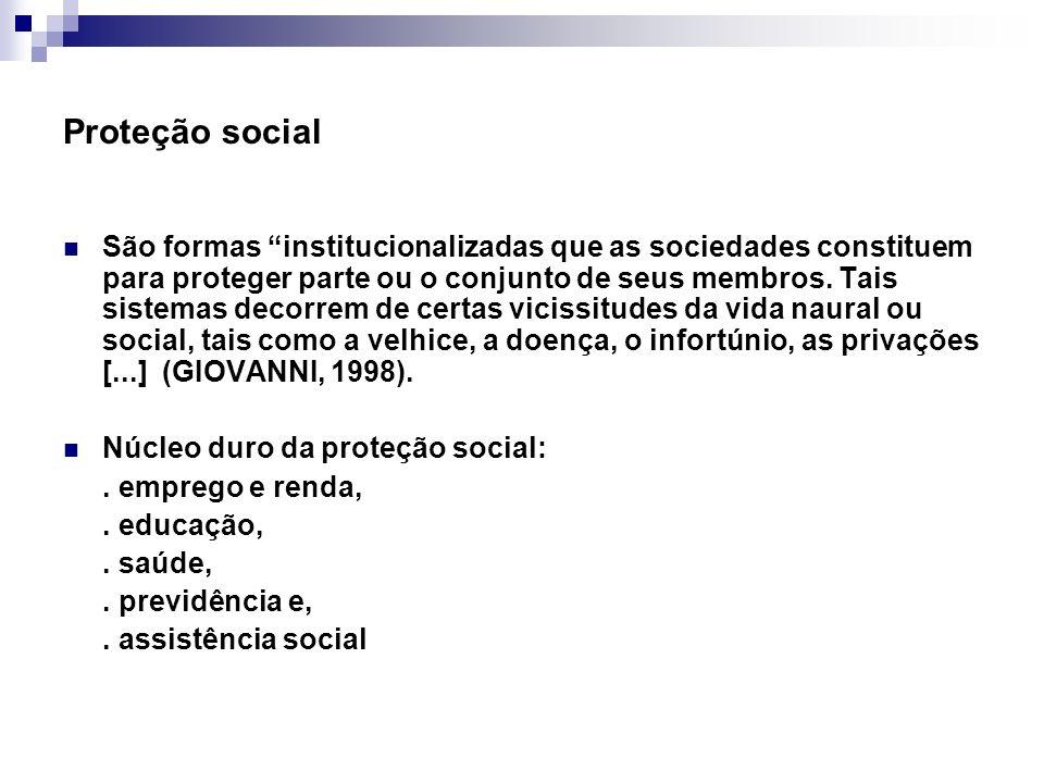 Proteção social São formas institucionalizadas que as sociedades constituem para proteger parte ou o conjunto de seus membros. Tais sistemas decorrem