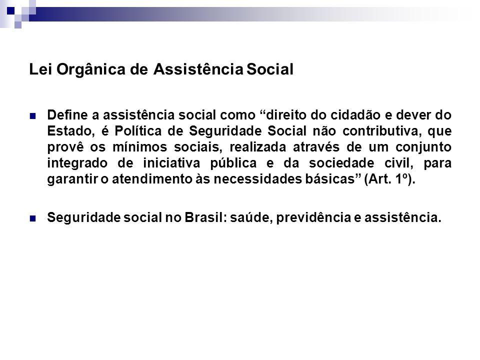 Lei Orgânica de Assistência Social Define a assistência social como direito do cidadão e dever do Estado, é Política de Seguridade Social não contribu