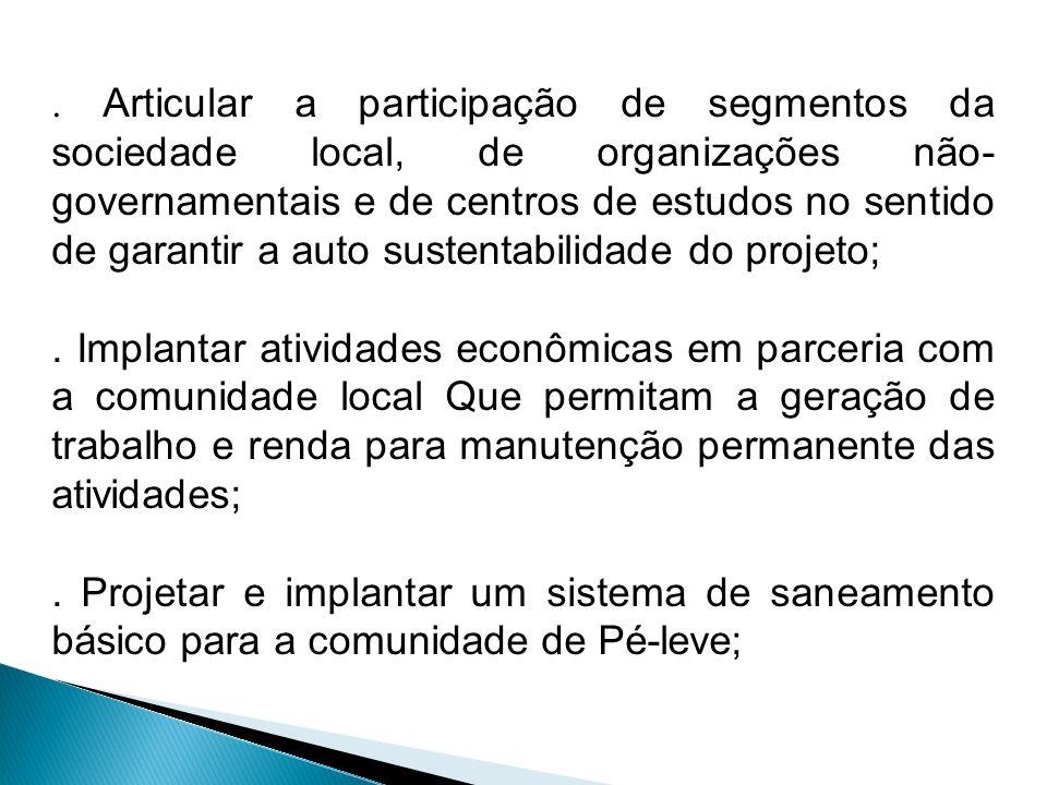 . Articular a participação de segmentos da sociedade local, de organizações não- governamentais e de centros de estudos no sentido de garantir a auto