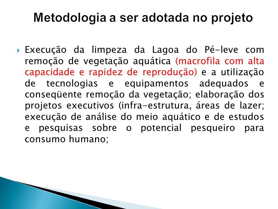 Metodologia a ser adotada no projeto Execução da limpeza da Lagoa do Pé-leve com remoção de vegetação aquática (macrofila com alta capacidade e rapide