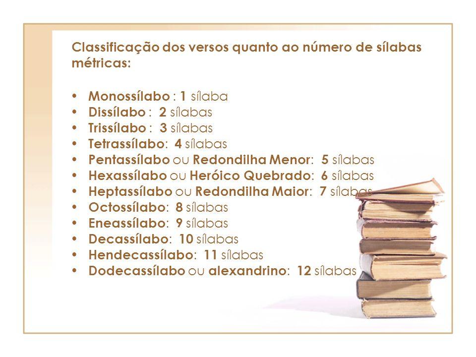 Classificação dos versos quanto ao número de sílabas métricas: Monossílabo : 1 sílaba Dissílabo : 2 sílabas Trissílabo : 3 sílabas Tetrassílabo : 4 sí