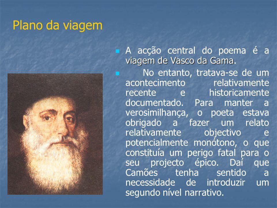 Plano da viagem viagem de Vascoda Gama A acção central do poema é a viagem de Vasco da Gama. No entanto, tratava-se de um acontecimento relativamente