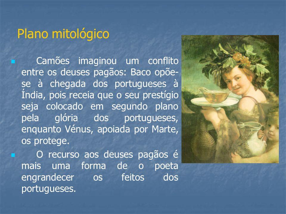 Plano mitológico Camões imaginou um conflito entre os deuses pagãos: Baco opõe- se à chegada dos portugueses à Índia, pois receia que o seu prestígio