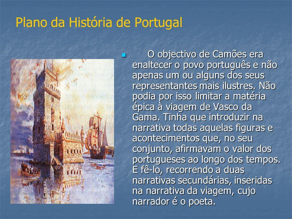 Plano da História de Portugal O objectivo de Camões era enaltecer o povo português e não apenas um ou alguns dos seus representantes mais ilustres. Nã