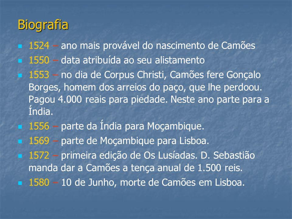 Biografia 1524 – ano mais provável do nascimento de Camões 1550 – data atribuída ao seu alistamento 1553 – no dia de Corpus Christi, Camões fere Gonça
