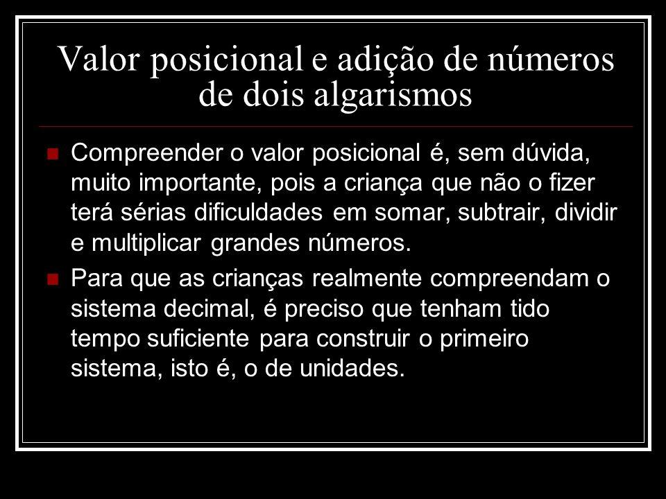 Valor posicional e adição de números de dois algarismos Compreender o valor posicional é, sem dúvida, muito importante, pois a criança que não o fizer