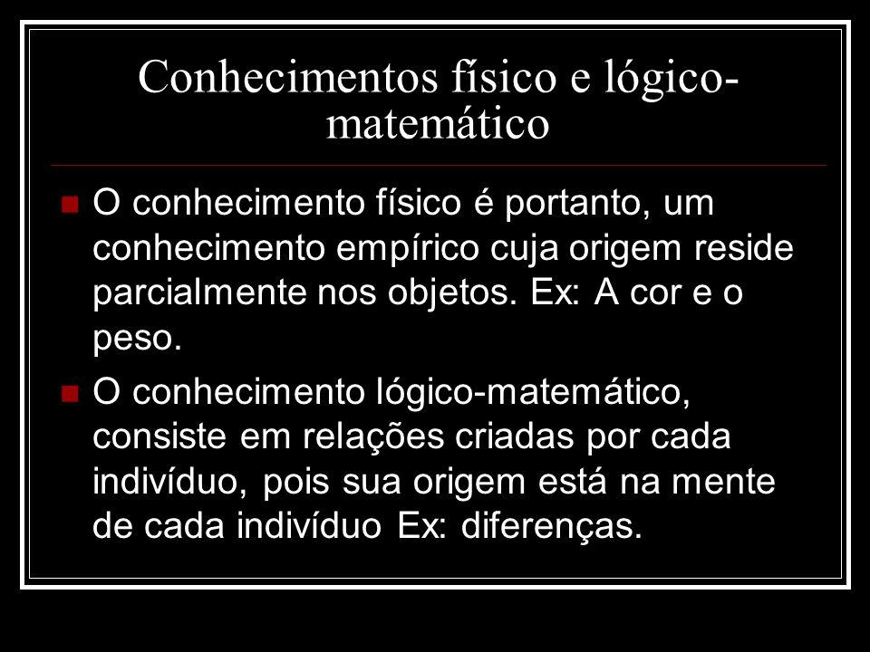 Conhecimentos físico e lógico- matemático O conhecimento físico é portanto, um conhecimento empírico cuja origem reside parcialmente nos objetos. Ex:
