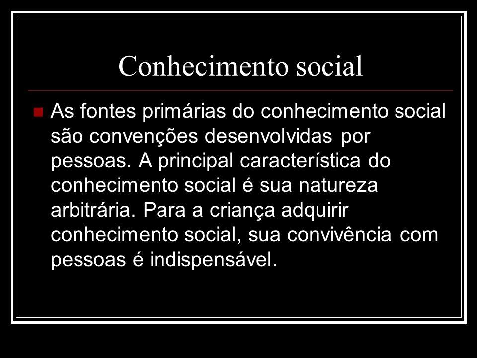 Conhecimento social As fontes primárias do conhecimento social são convenções desenvolvidas por pessoas. A principal característica do conhecimento so