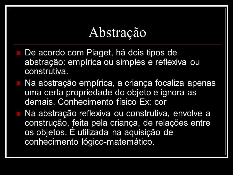 Abstração De acordo com Piaget, há dois tipos de abstração: empírica ou simples e reflexiva ou construtiva. Na abstração empírica, a criança focaliza