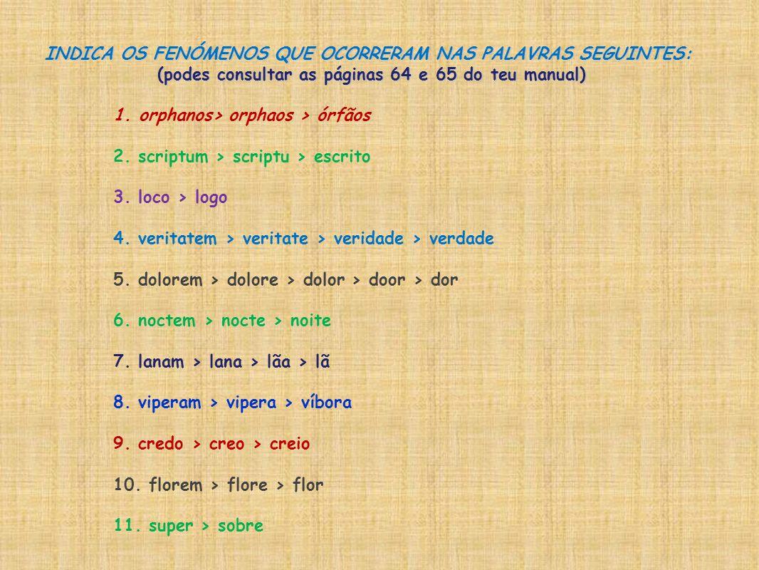 INDICA OS FENÓMENOS QUE OCORRERAM NAS PALAVRAS SEGUINTES: (podes consultar as páginas 64 e 65 do teu manual) 1.orphanos> orphaos > órfãos 2. scriptum