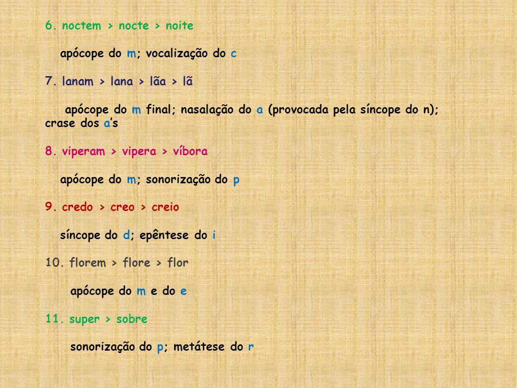 6. noctem > nocte > noite apócope do m; vocalização do c 7. lanam > lana > lãa > lã apócope do m final; nasalação do a (provocada pela síncope do n);