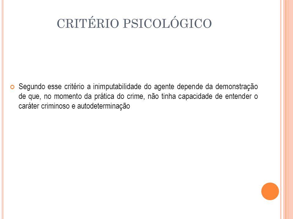 CRITÉRIO PSICOLÓGICO Segundo esse critério a inimputabilidade do agente depende da demonstração de que, no momento da prática do crime, não tinha capa