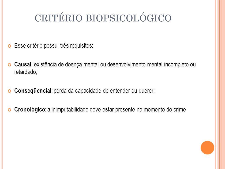 CRITÉRIO BIOPSICOLÓGICO Esse critério possui três requisitos: Causal : existência de doença mental ou desenvolvimento mental incompleto ou retardado;