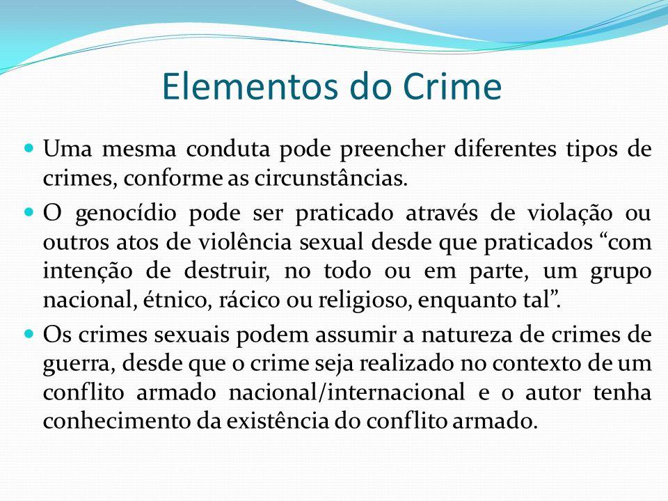 Elementos do Crime Uma mesma conduta pode preencher diferentes tipos de crimes, conforme as circunstâncias. O genocídio pode ser praticado através de