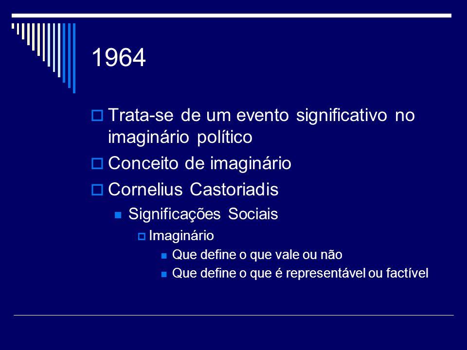 1964 Trata-se de um evento significativo no imaginário político Conceito de imaginário Cornelius Castoriadis Significações Sociais Imaginário Que defi