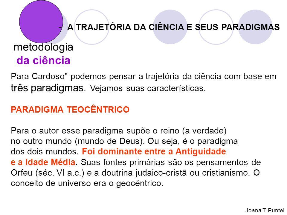 metodologia da ciência - A TRAJETÓRIA DA CIÊNCIA E SEUS PARADIGMAS Para Cardoso podemos pensar a trajetória da ciência com base em três paradigmas.