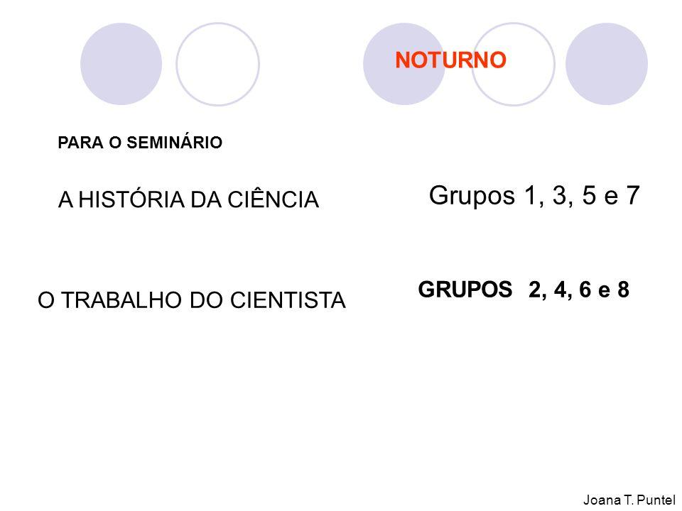 PARA O SEMINÁRIO A HISTÓRIA DA CIÊNCIA Grupos 1, 3, 5 e 7 O TRABALHO DO CIENTISTA GRUPOS 2, 4, 6 e 8 NOTURNO Joana T.