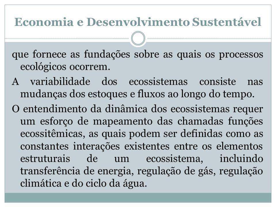 Economia e Desenvolvimento Sustentável que fornece as fundações sobre as quais os processos ecológicos ocorrem. A variabilidade dos ecossistemas consi